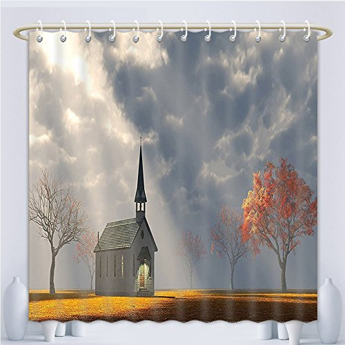 Amsome Unique Custom Shower Curtains Christian Small Church Trees View Silky Satin Orange White Gray.Jpg Polyester Fabric Shower Curtain For Bathroom, 60 x 78 Inches by Amsome