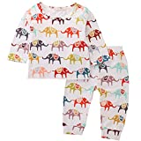 AR-LLOYD Baby Girls Boys Outfits Elephants Pattern Long Sleeve Tops Pants Clothes Sets
