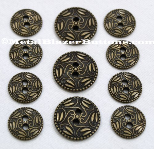 NEW Premium ANTIQUE BRASS Finished ~2-HOLE SEW-THROUGH~ ~DETAILED PAISLEY FILIGREE~ METAL FASHION BUTTON SET ~ 11-Piece Set of Heavier Weight Solid Metal Fashion Buttons For Single Breasted Blazers, Sport Coats, Jackets & Uniforms ~ (Antique Parchment Single)