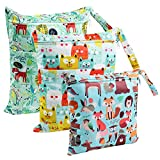 LEADSTAR Wet Dry Bag, Wet Suit Bag, Baby Diaper Organizer, Waterproof Washable Hanging Large Two Zippered Pockets Nappy Bag, Travel, Beach, Pool, Daycare, Gym Bag - 3 Pcs (Animal)