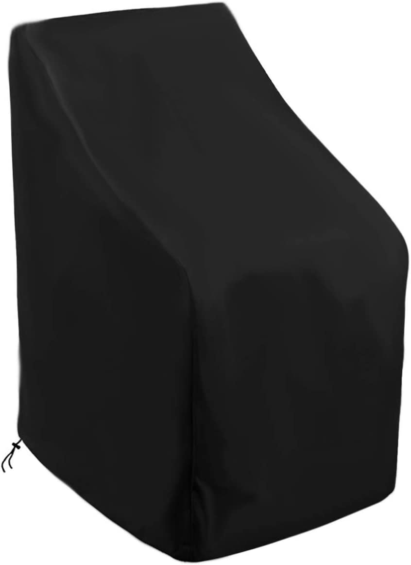 Patio Chair Covers,Waterproof Outdoor Furniture Stackable Cover,Premium 210D/420D Oxford Fabric,Black,Heavy Duty High Back Chair Protector (210D)