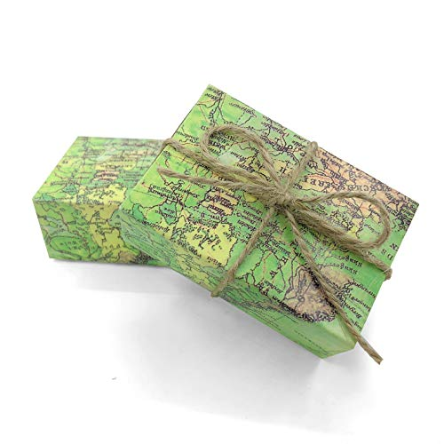 Vintage Kraft Paper Candy Box Around the World Map Drawers Design Favor Gift Boxes Wedding Favors Party Supplies for Traveling Themed, 50pc -