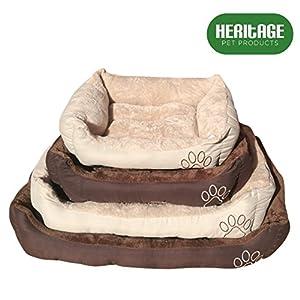 Heritage Pet Products Deluxe – Cesta de cama para mascotas, suave, lavable, cálida, con forro polar