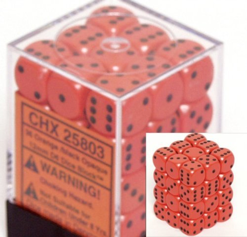 Chessex Dice d6 Sets: Opaque Orange with Black - 12mm Six Sided Die (36) Block of Dice ()