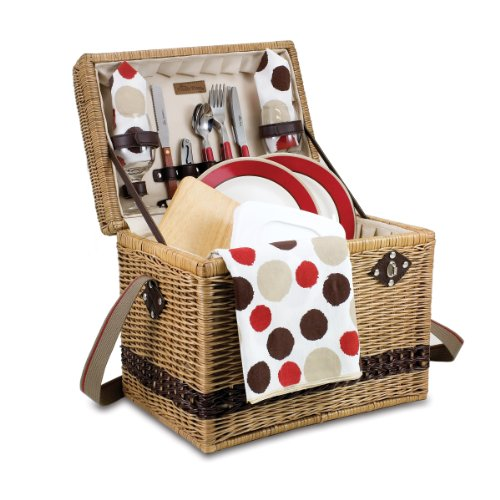 Picnic Time Yellowstone Willow Picnic Basket with Deluxe Service for 2, Moka Collection (Yellowstone Picnic Basket)
