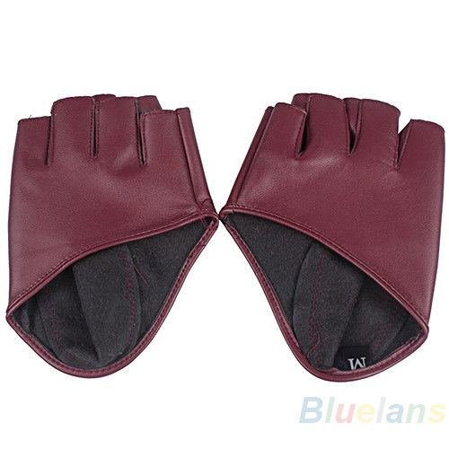 Fashion Half Finger PU Leather Gloves Ladys Fingerless Driving Show Gloves Purplish red