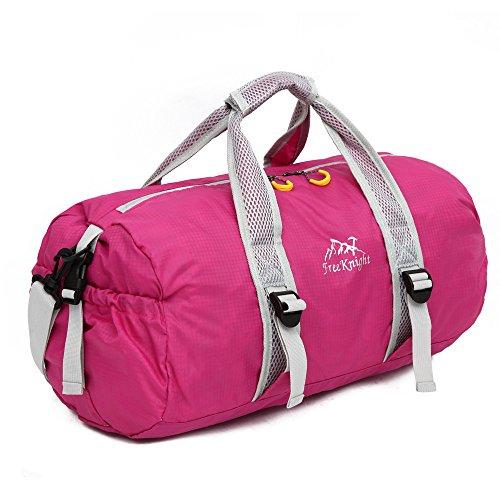 Travel Bag Ultralight Folding Fitness Bag,Fashionable Waterproof Nylon Gym Yoga Sport Training Bag Luggage Portable Hiking Travel Shoulder Handbag Camping Outdoor Bag-Hot Pink by MIYA LTD