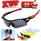 WIKISH Polarized Sports Sunglasses with 5 Interchangeable Lenes TR90 Unbreakable Frame Golf Baseball Running Fishing Riding Cycling Glasses – Black and Red Frame For Sale