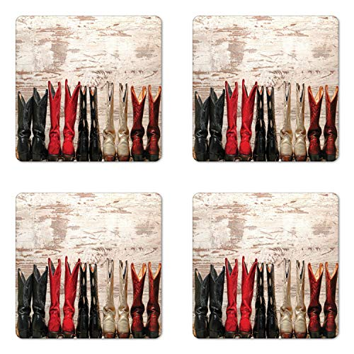 Ambesonne Western Coaster Set of Four, American Legend Cowgirl Leather Boots Rustic Wild West Theme Cultural Print, Square Hardboard Gloss Coasters for Drinks, Beige Red Black