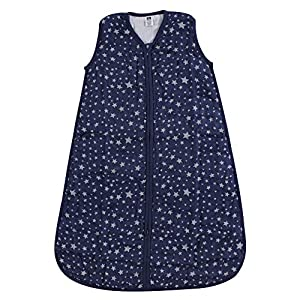 Hudson Baby Safe Sleep Wearable Muslin Sleeping Bag, Silver/Navy Star, 12-18 Months