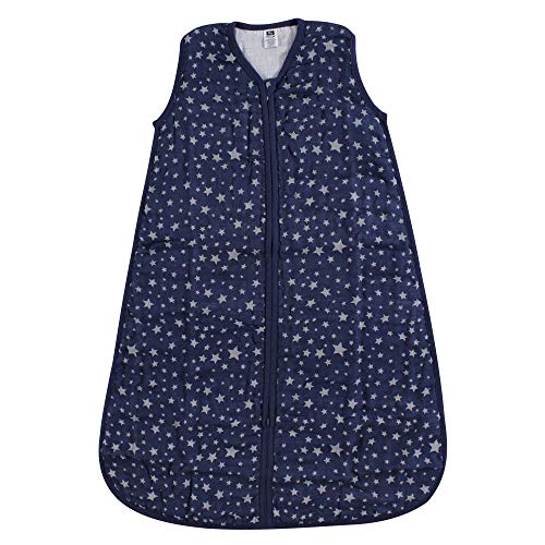 Hudson Baby Safe Sleep Wearable Muslin Sleeping Bag, Silver/Navy Star, 0-6 Months from Hudson Baby