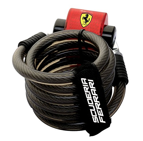 Ferrari Bicycle Antitheft Security Lock, Self-Coiling, Resettable, Ultimate Protection Combination Cable Lock, Tail Light.