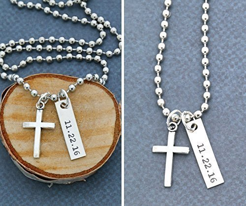 Mens Cross Necklace Confirmation Handstamped product image