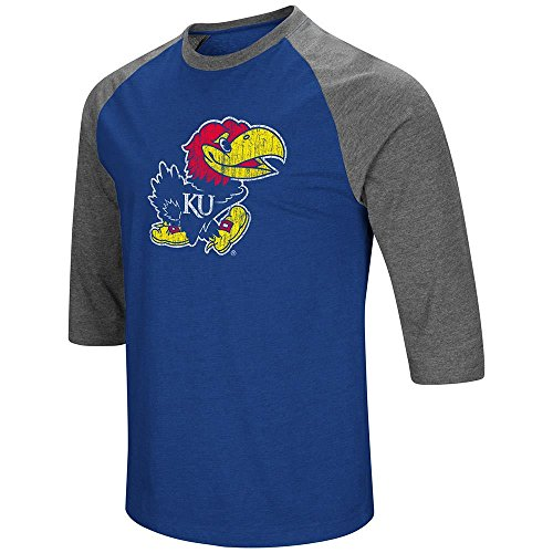 Colosseum Mens Kansas Jayhawks 3/4 Sleeve Raglan Tee Shirt - 2XL