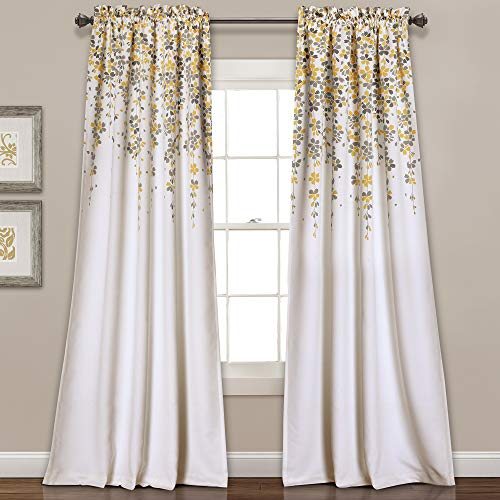 Lush Decor Weeping Flowers Curtains Yellow and Gray Room Darkening Window Panel Set (Pair)