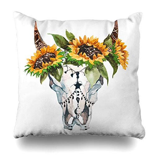 DIYCow Throw Pillows Covers Boho Watercolor Bulls Head Gypsy Flowers Feathers Wildlife Skull Butterfly Cushion Case Pillowcase Home Sofa Couch Square Size 20 x 20 Inches Pillowslips
