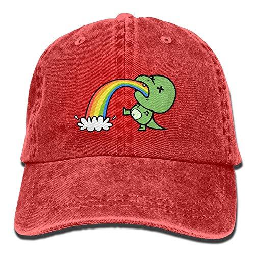 Rainbow Dinosaur Unisex Baseball Cap Cotton Denim Adjustable