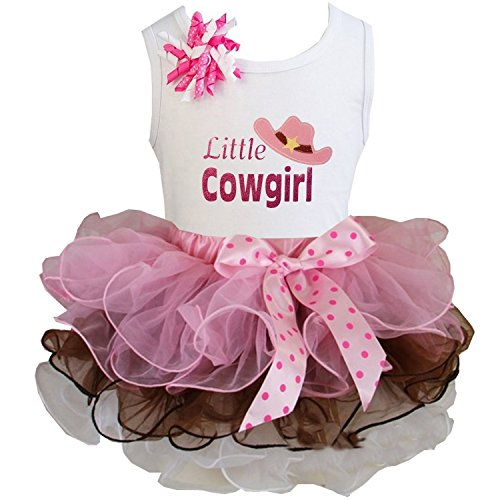 Kirei Sui Brown Light Pink Tutu & Little Cowgirl Tee Medium (Little Cowgirl Outfits)