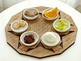 Modern Passover Seder Plate + Set of 6 Pomegranate Shape Coasters. Judaica Gift from Israel. with Hebrew Pessach Symbolic Foods Names. Walnut and Oak Veneer over with Laser-Cut Engraving