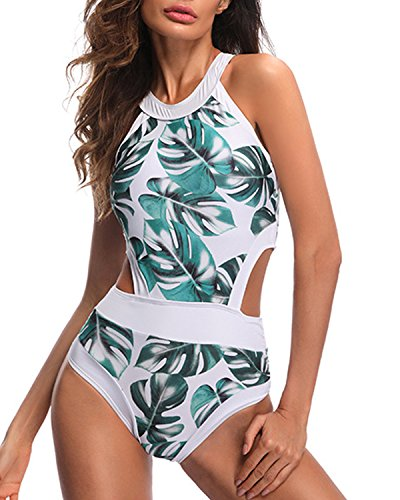 Holipick Women One Piece High Neck Palm Tree Printed Sexy Hollow Out Backless Monokini Swimsuit Swimwear Floral L - Tropical Floral Palm Tree