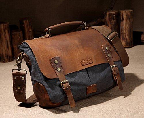 Vaschy Messenger bag for men, Vintage Leather Canvas Satchel 14in Laptop Crossbody Shoulder Bag by Vaschy (Image #1)