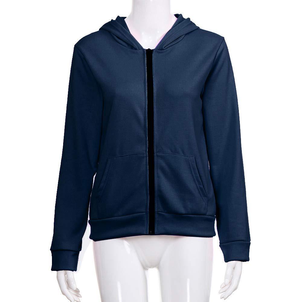 Pervobs Women Autumn Full-Zip Long Sleeve Coat Solid Loose Hooded Jacket Overcoat Coat for Women Clearance Sale