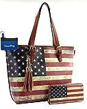 American Flag Large Purse Wallet Set, Vintage U.S. Flag Tote Style (Tan)
