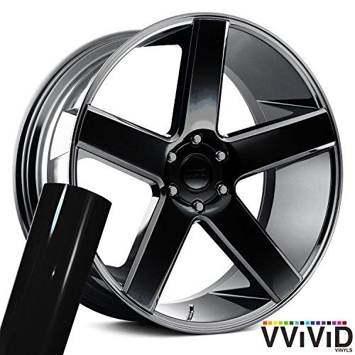 VViViD Auto Rim Air-Release Adhesive Vinyl Wrap 24 x 30 4 Sheet Pack (Gloss Black)