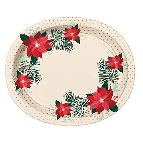Red Gold Poinsettia Paper Oval Party Plates, 8 Ct.
