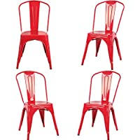 Fancyhouse Set of 4 Tolix Style Dining Side Chair Stackable High Back Bistro Cafe Metal (Red)