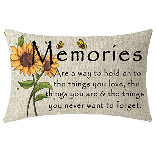 Aunt Throw Pillow - NIDITW Mothers Sisters Aunts Birthday Gift Sunflowers Memories are A Way to Hold On to The Things You Love Lumbar Burlap Throw Pillow Case Cushion Cover Sofa Couch Decorative Rectangle 12x20 Inches