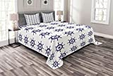 Lunarable Ships Wheel Bedspread Set Queen Size, Marine Port Yachting Symmetric Geometrical Steamboat Transportation Artwork, Decorative Quilted 3 Piece Coverlet Set with 2 Pillow Shams, Indigo White