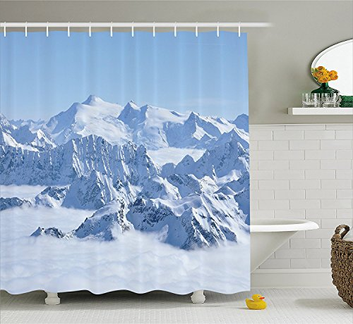 [Farmhouse Decor Shower Curtain Snowy Summit of Alps over Clouds Scene at Winter Wilderness in Nature Fabric Bathroom Decor Set with Hooks White] (The Pope Costume At The White House)