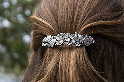 Butterflies Hair Clip - Hand Crafted Metal Barrette Made in the USA with a Medium 70mm Imported French Clip By Oberon Design