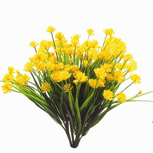 Zimeng Artificial Fake Flowers 4 Bundles Outdoor Uv Resistant Greenery Shrubs Plants Indoor Outside Hanging Planter Home Garden Decorating Yellow