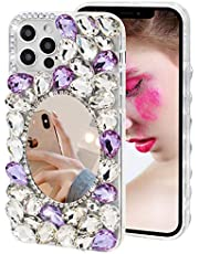 Mirror Case for Samsung Galaxy S20 Ultra,MOIKY Glitter Bling Diamond Rhinestone Makeup Phone Case Clear Bumper Cover for Girls Women Shockproof TPU Silicone Case for Samsung S20 Ultra,White Purple