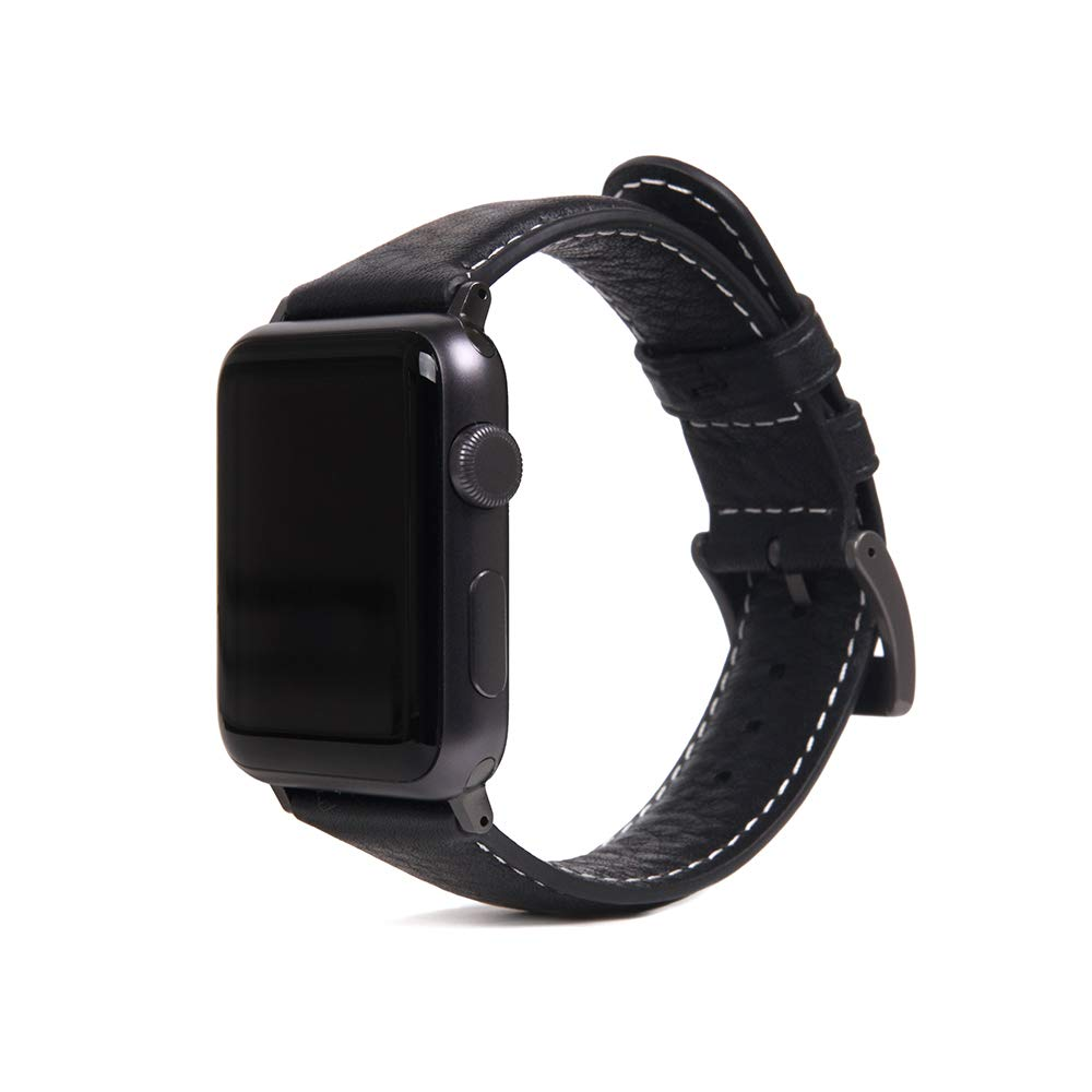 [SLG DESIGN] D6 Italian Minerva Box Leather Band I Premium Italian Leather iWatch Band/Strap Feature Dressy Black Stainless Steel Adapters Compatible with Apple Watch Series 1-4 42/44mm (Black) by SLG Design