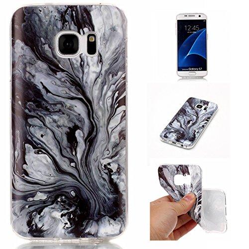 Funda para Samsung Galaxy S7 Cáscara Flexible Suave Gel TPU Funda Protectora de Silicona Delgado Ajuste a Prueba de Golpes con Patrón de Mármol Solaxi (L) L