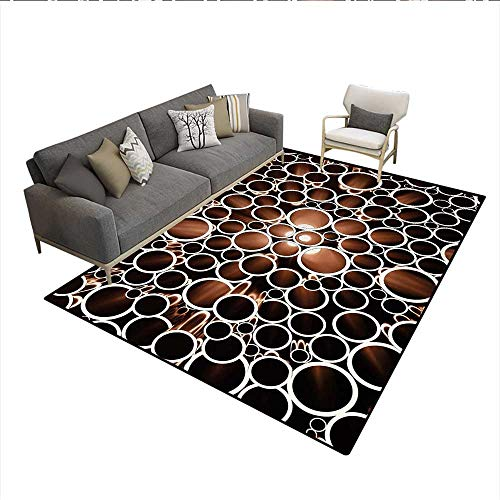 Floor Mat,Round Pipes in 3D Style Construction Theme Modern Circles Print,Rugs for Bedroom,Dark Brown Caramel CreamSize:5'x7'