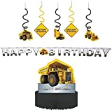 Construction Zone Party Decorations Supply Pack - Dizzy Danglers, Banner, and Centerpiece
