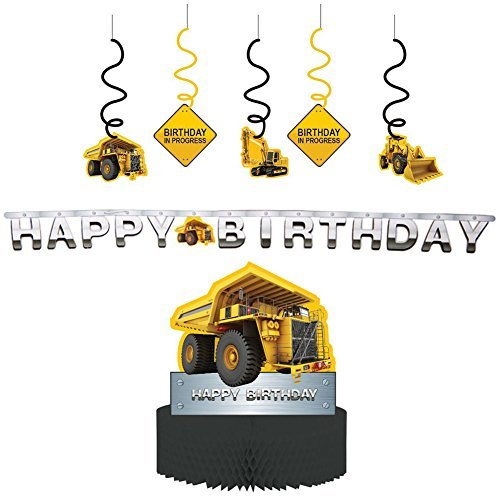Construction Zone Party Decorations Supply Pack - Dizzy Danglers, Banner, and Centerpiece -