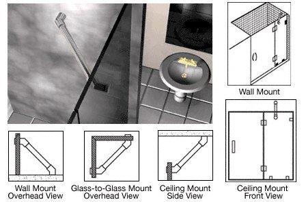 CRL Brushed Nickel Through-Glass Mounted Support Bar ()