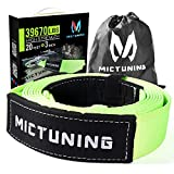 MICTUNING Recovery Tow Strap 3 Inch x 20 Ft, Heavy Duty Lab Tested 39670lbs Strength, Triple Reinforced Loops and Protective Sleeves, Emergency Off Road 4x4 Towing, Free Storage Bag