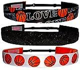 Non Slip Adjustable Headband 'Basketball' Girls Basketball Headband (Color Options) by RazzyRoo Headbands (3 Pack (Basketball Love, Black Glitter, Basketball White))