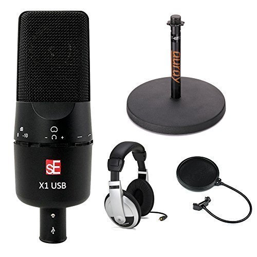 sE Electronics sE X1 USB Large Diaphragm Condenser USB Microphone Studio Bundle by SE Electronics