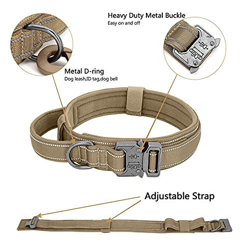 EGOBUY Tactical Dog Collar Reflective Nylon Adjustable Military Safety Soft Comfort Elastic Leash Metal Buckle and Handle with USA Flag Patch for Daily and Training