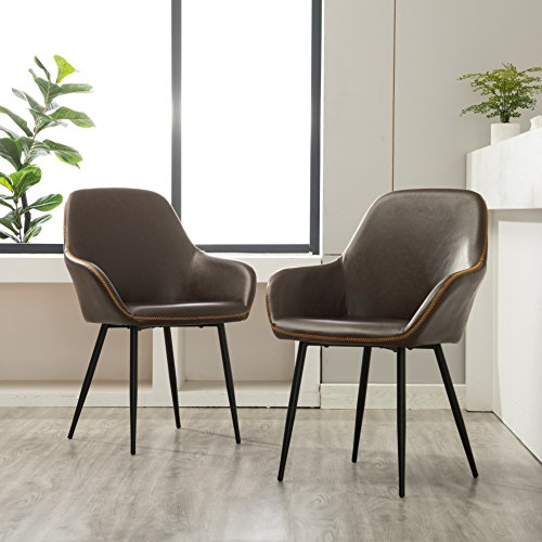 Roundhill Furniture C281BR Horgen Contemporary Faux Leather Dining Chairs, Set of 2, Brown