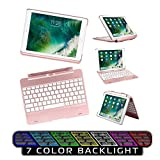 New Keyboard fit for ipad 9.7/ipad Air Keyboard Case, 7 Color Backlight Detachable Keyboard Folio Wireless Stand Keyboard Cover for ipad 5/6,Smart Automatic Sleep/weak for iPad Pro 9.7(Rose Gold