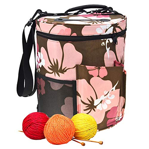 Woolen Yarn Storage Bag Portable Tote Light and Easy to Carry Pockets Accessories Organizer organizing with Shoulder Strap Home as Crossbody Print Large-Sized Cylinder by sweetyhomes (Image #1)