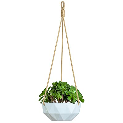 YXMYH Ceramic Hanging Planter Indoor Outdoor Modern Geometric Flower Plant Pot 8 Inch Porcelain Hanging Basket Herbs Ivy Crawling Plants, White: Garden & Outdoor